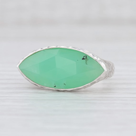 Green Stone Ring, Chrysoprase Ring, Hammered Silve