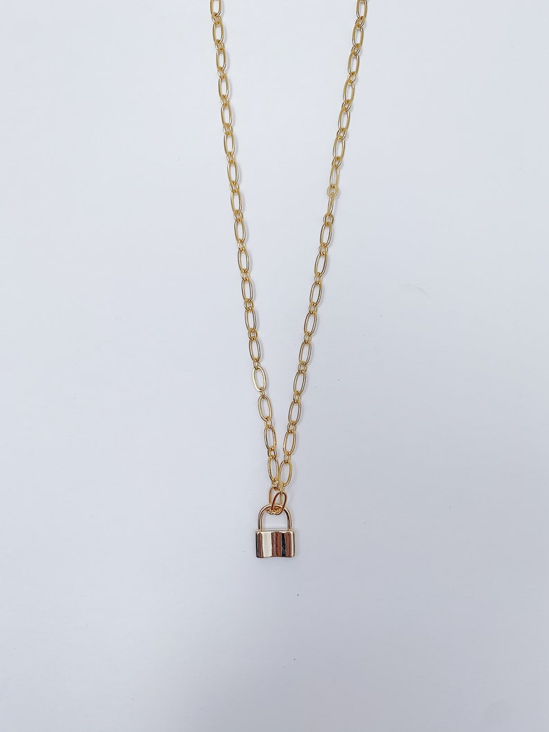 Lock Chain Necklace Dainty Gold Lock Necklace Lock Chain Layering Necklace Lock Paperclip Chain Necklace Lock Chain Link Necklace