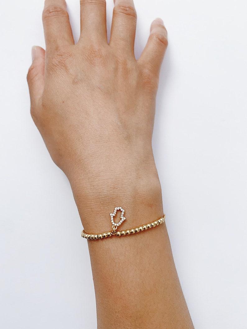 Gold Hamsa Bracelet Sliding adjustable Elegant Fatima Hand Gold Beaded Bracelet Gold Evil Eye Protection Bracelet Great Gift For Her