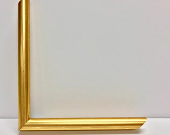 Gold Narrow Picture Frame With Cream Mat 5x7, 6x8, 8x10, 9x12, 11x14,  14x16, 16x20,and Any Custom Sizes Available