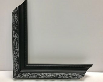 Black ornate frame Dark Black Classic Scroll Scoop Picture Frame With Cream Mat 5x7 6x8 8x10 9x12 11x14 14x16 16x20 And Any Custom Sizes Available Etsy Black Ornate Frame Etsy