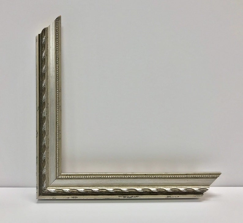 Silver Retro Picture Frame with Cream Mat 5x7, 6x8, 8x10, 9x12, 11x14,  14x16, 16x20, and Any Custom Sizes Available