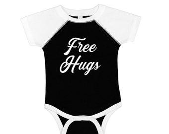 ec46e5845 Free hugs cute infant baseball style onesie