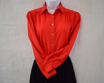 Vintage 1980s Red Blouse by Shapely Size 10  Bow Tie Long Sleeves Shirt