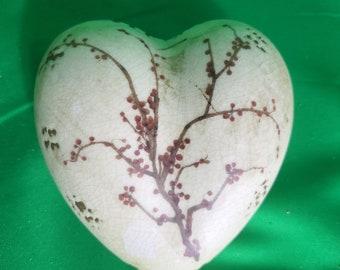 Tim Coffey Ceramic Heart Tree Pattern Art Paperweight