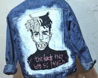 c09deaf8dd2 Handpainted denim jacket. Custom made. XXXTentacion denim jacket. Tribute.  Unisex. Art. personalized remember X
