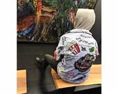 The Punk Scratcher Distressed Denim Jacket Hand painted denim jacket. Handmade jacket. Fashion Fabric Paint Unisex