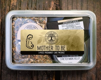 Mother To Be Care Package - Perfect Gift for Pregnant Mothers - Stretch Mark Butter, Pregnancy Tea, Essential Oil Aromatherapy Inhaler