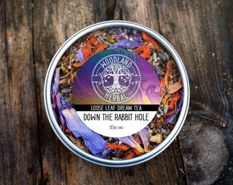 Down the Rabbit Hole Tea - Organic Tea for Intensifying Dreams, Soothing Nerves Anxiety and Stress, Lucid Dreaming, Euphoria Tea