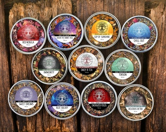 5 Tea Special - Buy 4 Get 1 FREE! Natural Loose Leaf Teas 2.5oz - Organic Tea for Sleep, Immunity, Focus, Anxiety, Energy, Dreaming, etc