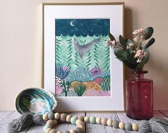 Kelp forest print. Kids room decor.