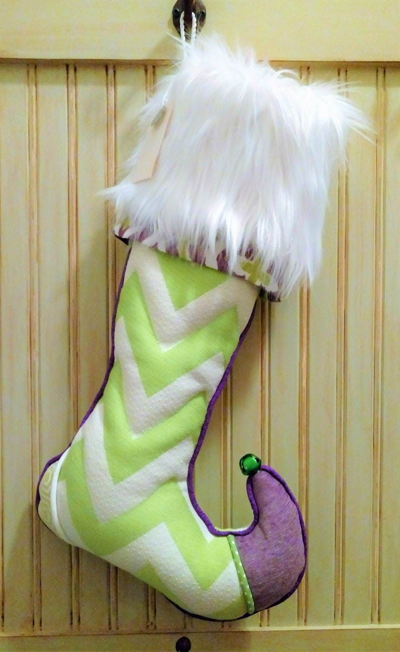 Christmas Stocking Personalized with Name on Tag Elf Sock Whimsical Green with White Faux Fur