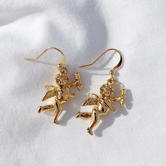 Cherub Angel Angelic Silver Pair Hook Dangle Fish Earring Pair Earrings Cute Small Charm Y2K Kawaii Cute Japanese Art Hoe Culture Harajuku Vintage Retro KPOP