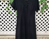 Black V-Neck Dress with Accent Buttons