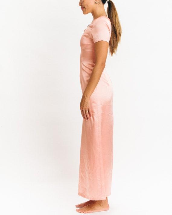 Peach Pink Silk Evening Gown vintage xs xxs 20's … - image 2