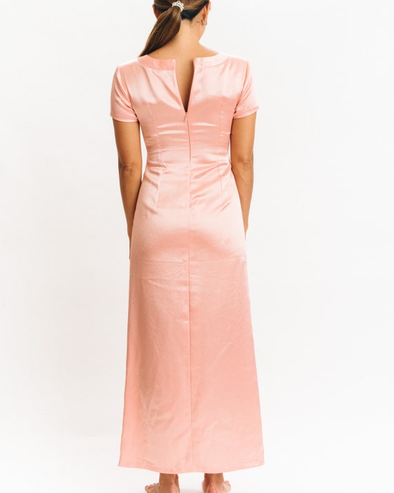 Peach Pink Silk Evening Gown vintage xs xxs 20's … - image 3