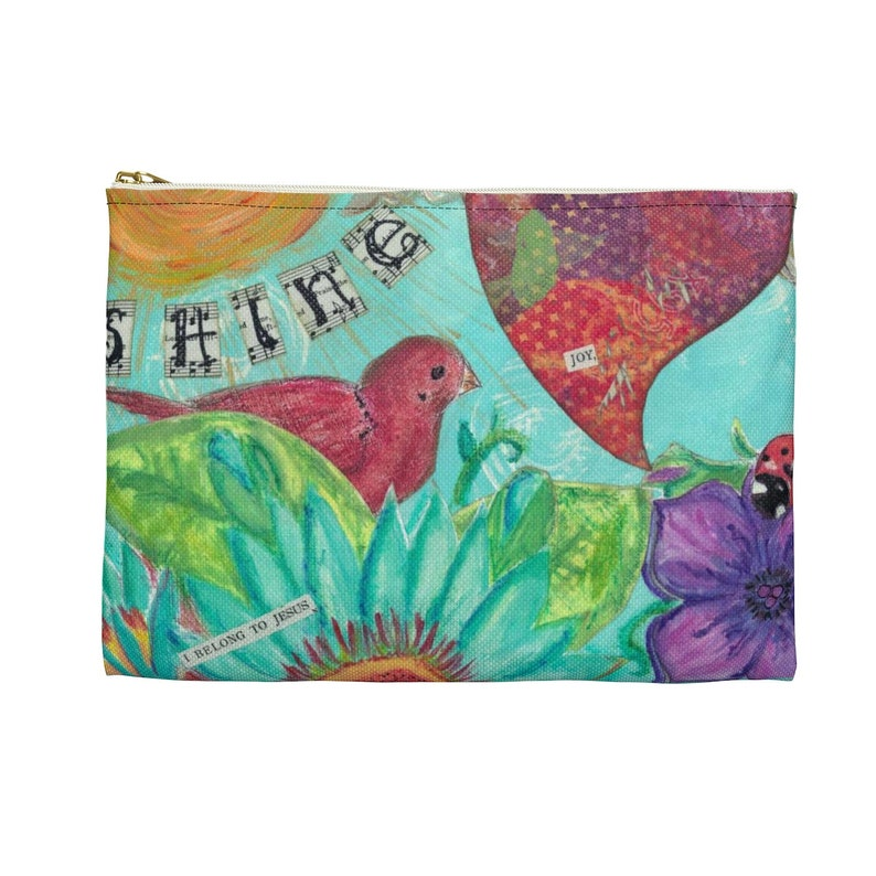 Mixed Media make-up bag Accessory Pouch Graduation Gift Pencil bag w flower and Bird Inspirational Gifts