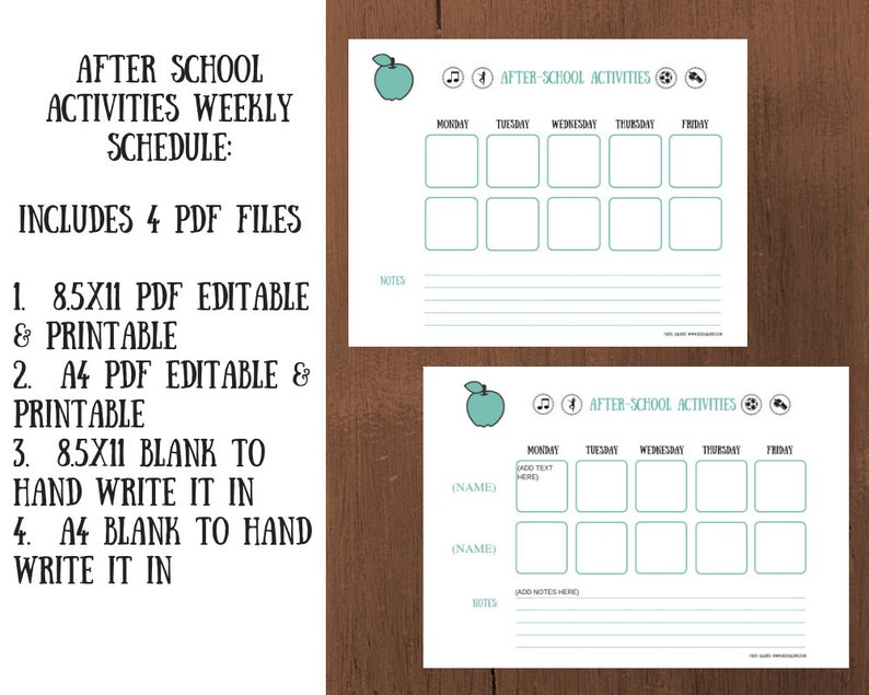 photo regarding After School Schedule Printable identified as Following-College or university Program Printable for 2 Young children - Quick Obtain, Personalized Edit  Print