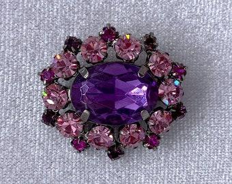 Purple Brooch, Rhinestone Brooch, Sustainable Fashion, Zero Waste Gift