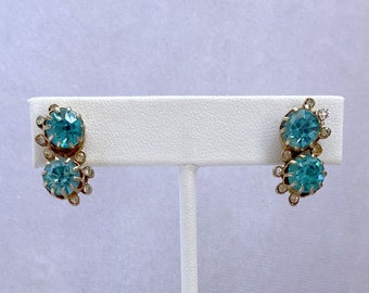 Aquamarine Earrings, Vintage Jewelry, Rhinestone Earrings, Mothers Day Gift From Daughter
