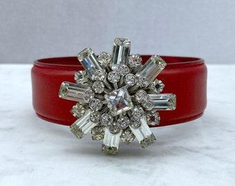 Embellished Cuff Bracelet, Red Leather Bracelet, Leather Cuff Bracelet, Valentines Gift for Her