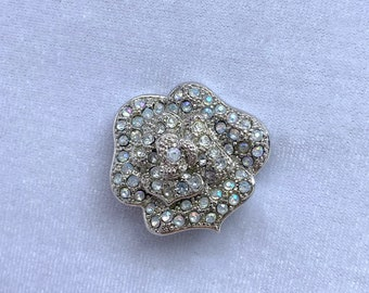 Rhinestone Flower Brooch, Vintage Jewelry, Boutonniere, Mothers Day Gift From Daughter
