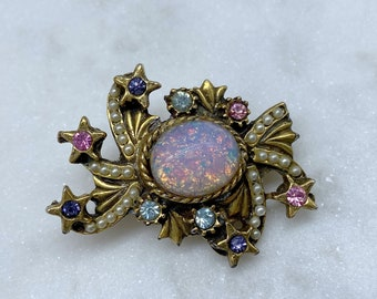Faux Opal, Vintage Brooch, Birthday Gift for Her