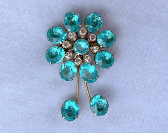 Teal Brooch, Vintage Jewelry, Sustainable Fashion, Mothers Day Gift From Daughter