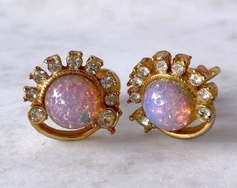 Faux Opal, Vintage Earrings, Screw Back Earrings, Gift for Grandma