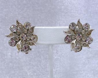 Rhinestone Earrings, Snowflake Earrings, Vintage Jewelry, Christmas, Gift for Aunt