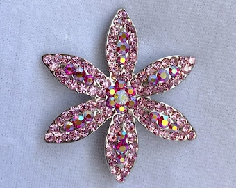 Pink Rhinestone Flower Brooch, Costume Jewelry, Mothers Day Gift From Daughter