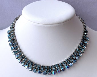 1950s Necklace, Rhinestone Necklace, Bridal Jewelry