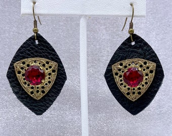 Leather Earrings, Upcycled, Unique Earrings, Cheer Up Gift