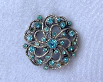 Aquamarine Brooch, Vintage Jewelry, Sustainable Fashion, Mothers Day Gift