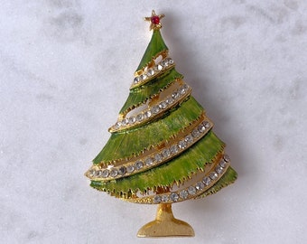 Christmas Tree Brooch, 1940s Brooch, Christmas Jewelry, Stocking Stuffer