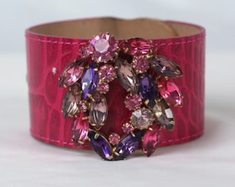 Embellished Cuff Bracelet, Rhinestone Cuff, Upcycled Jewelry, Best Friend Gift
