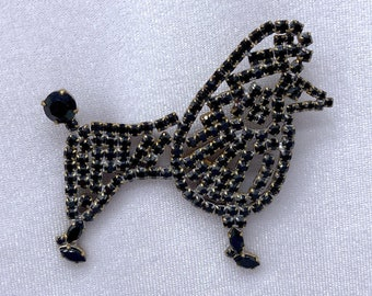 Poodle Brooch, Poodle Jewelry, 1940s Brooch, Dog Lover Gift