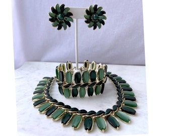 Green Vintage Jewelry Set, Lisner Jewelry, Gift for Mom From Daughter