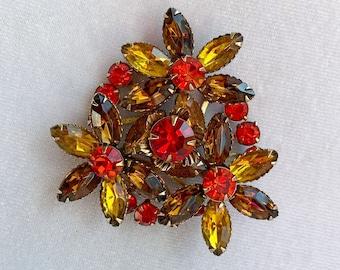 Autumn Jewelry, Rhinestone Brooch, 1950s Brooch, Zero Waste Gift