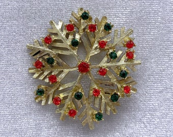 Snowflake Brooch, 1950s Brooch, Christmas Jewelry, Gift for Mom