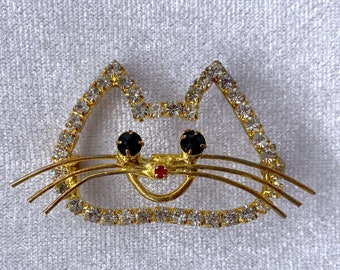 Cat Brooch, Czech Brooch, Vintage Jewelry, Christmas, Cat Lover Gift
