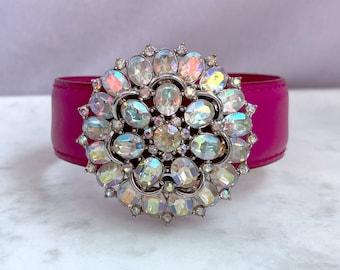 Pink Bracelet, Rhinestone Cuff, Leather Cuff Bracelet, Unique Jewelry, Cheer Up Gift
