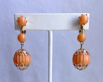 Peach Dangle Clip On Earrings, Vintage Jewelry, Mothers Day Gift From Daughter