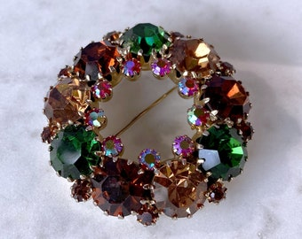 Fall Brooch, Rhinestone Brooch, Estate Jewelry, Autumn Gift