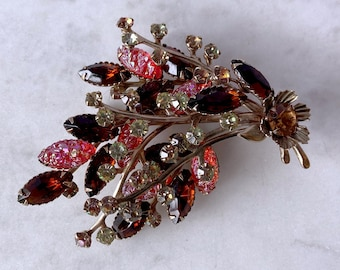 Iridescent, Vintage Brooch, Autumn Jewelry, Birthday Gift for Her