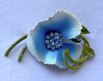 Enamel Painted Flower Brooch, Boutonniere, 1950s Brooch, Mothers Day Gift From Daughter