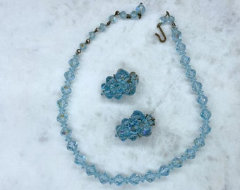 Crystal Jewelry Set, Estate Jewelry, Something Blue, Mothers Day Gift From Daughter
