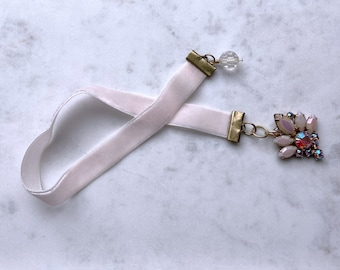 Pink Ribbon Bookmark, Recycled Bookmark, Book Lover, Secret Santa Gift