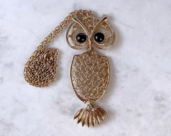 Owl Necklace, Sarah Coventry, Boho Jewelry, Fall Gift