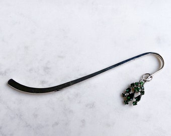 Green Rhinestone Metal Bookmark, Book Club, Secret Santa